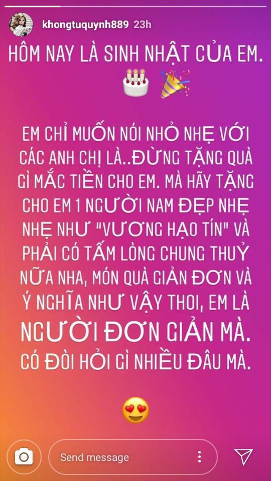 Điều ước gây xôn xao của Khổng Tú Quỳnh trong ngày sinh nhật.
