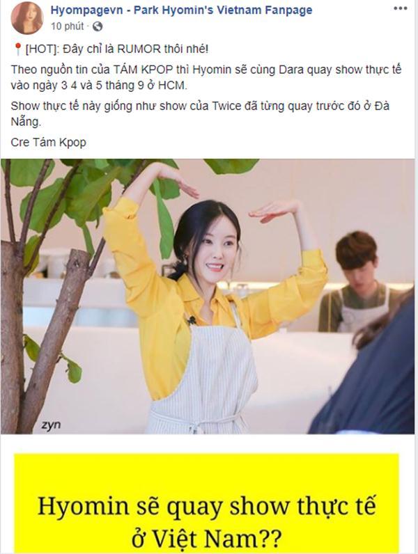 Fanpage lớn nhất của Hyomin tại Việt Nam đưa tin.